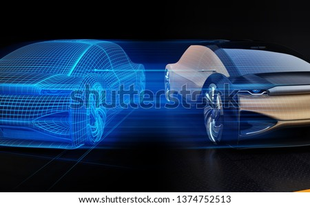 Autonomous electric car and wireframe rendering of the car body on right side. Digital Twin concept.  3D rendering image.