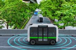 Autonomous electric shuttle bus self driving across city green road, Smart vehicle concept