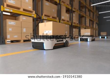 Autonomous Robot transportation in warehouses, Warehouse automation concept. 3D illustration