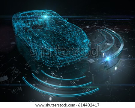 Autonomous self drive vehicle - 3D rendering