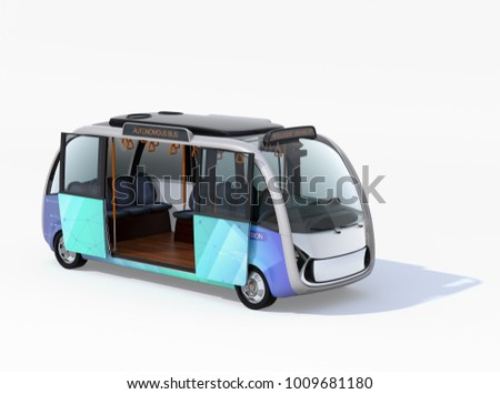 Autonomous shuttle bus with opened door isolated on white background. 3D rendering image.