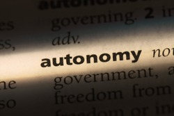 autonomy word in a dictionary. autonomy concept.