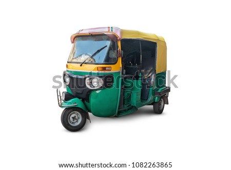 autorickshaw isolated on white background. Traditional vintage   Indian public transport. Tricycle vintage retro motorcycle 50-60 years of the 20th century - Shutterstock ID 1082263865