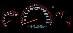 Autovehicle (Honda Accord 2007) dashboard: tachometer, speed-o-meter in km/h, fuel tank level and engine temperature indicator