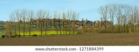 Autumal farmscape with agricultural fields and colorful trees on a sunny day in the Flemish Ardennes, Geraardsbergen, Flanders, Belgium