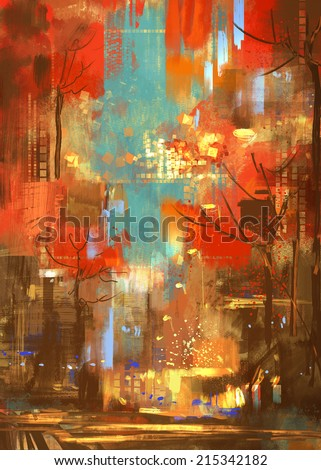 autumn Abstract Art Digital Painting - stock photo