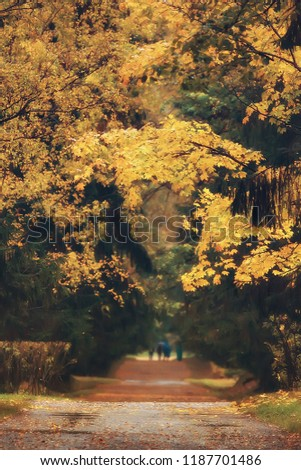 autumn alley in the park / autumn walk in the city park, weekends alone. The concept of calm and autumn freshness among trees and branches with yellow leaves #1187701486