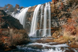 autumn and high flow rate, a great waterfall, erzurum-turkey-tortum