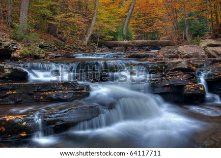 Autumn arrives at Kitchen Creek, Ricketts Glen State Park Pennsylania.