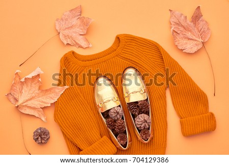 Autumn Arrives. Fashion Lady Clothes Set. Trendy Knit Jumper. Flat lay. Fashion Stylish Glamour Shoes. Fall Leaves. Vintage. Vanilla Pastel colors.