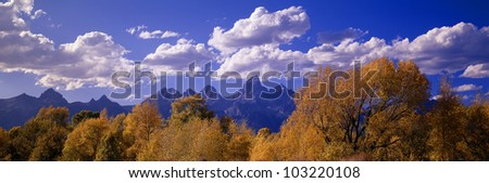 Autumn at Grand Tetons, Grand Teton National Park, Wyoming - stock photo