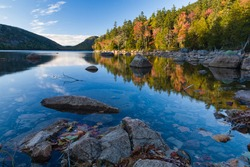 Autumn at Jordan Pond in Acadia National Park on Mount Desert Island, Maine, USA