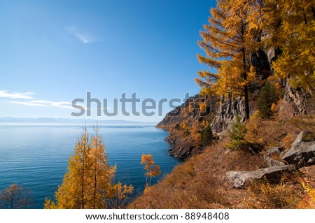 Autumn at Lake Baikal - oldest, deepest and most voluminous freshwater lake in the world, Irkutsk region, Siberia, Russia