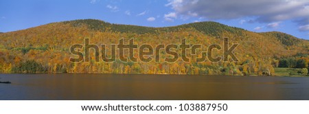 Autumn at scenic lake near Woodstock, Vermont - stock photo