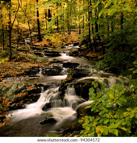 Autumn at small waterfall in Harriman State Park, in upstate NY