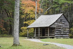 Autumn at the Carter Shields Cabin in Cades Cove, Great Smoky Mountains National Park, Tennessee.