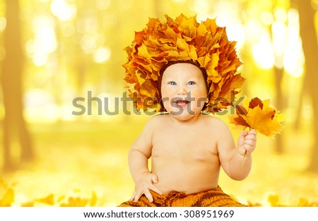 Autumn Baby, Little Kid in Fall Leaves Crown, Child Boy in Yellow Hat with Maple Leaf