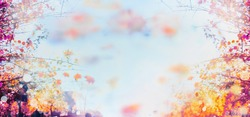 autumn background blurred bokeh landscape trees, leaves and sky