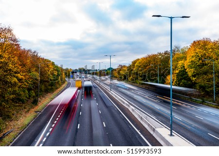 Autumn Background of UK Motorway Road