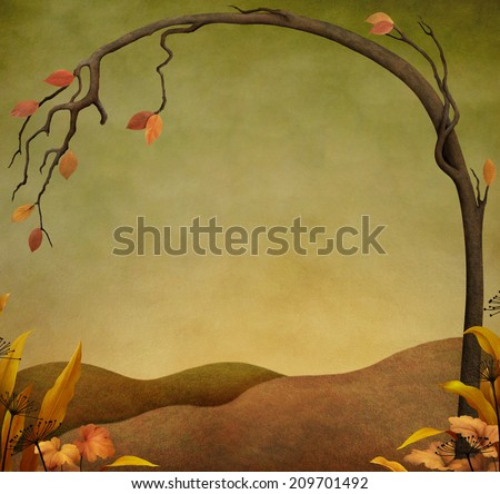 Autumn background or illustration with tree and grass
