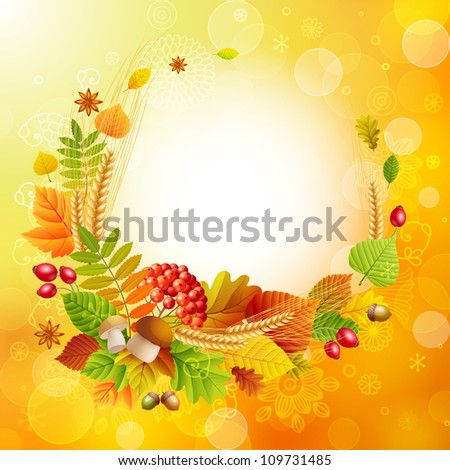 Autumn background with colorful leaves and place for text. Check my portfolio for vector version.