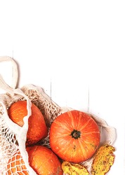Autumn background with pumpkins and fruits. Pumpkins, apples and pears in shopping bags on a white background top view. Free space for text. Autumn shopping. Thanksgiving Day.