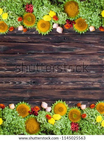 Autumn Background With Sunflowers On Wooden Board Floristic Layout Warm Fall Colors And