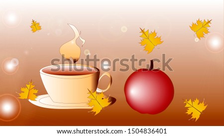 Autumn background with tea and leaves.