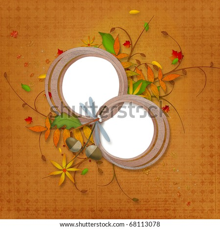 autumn background with two circle frames