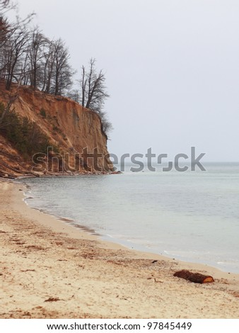 autumn baltic sea cliff in Orlowo, Gdynia Poland