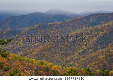 Autumn Blue Ridge Mountain View, from the Blue Ridge Parkway in the Appalachian Mountains of Virginia #1149917810