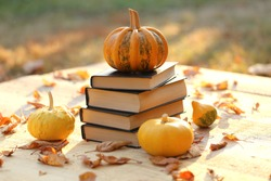 Autumn books. School time.Halloween books.Striped pumpkin on a stack of books on a wooden table in the sunshine on a blurred background. Reading books about autumn