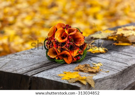 autumn, bridal bouquet, autumn bouquet, wedding, composition, flowers and berries, design,gold autumn.