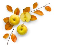 Autumn bright composition of apples and leaves. Flat lay, top view. Minimal concept. Copy space.