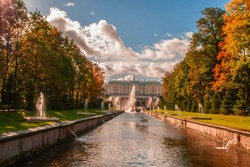 Autumn canal from the main Palace with fountains