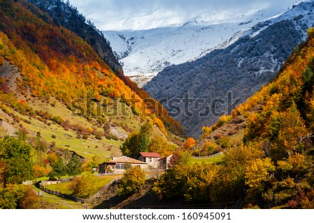autumn Caucasus Mountains in Svaneti. Mestia. Georgia