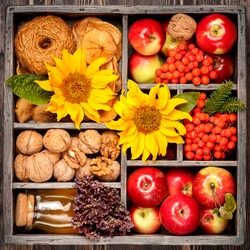 Autumn collage. Red apples, honey, nuts and sunflower in wooden box