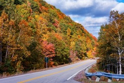 Autumn colors are out on the trees and their foliage along the Cabot Trail in Nova Scotia.