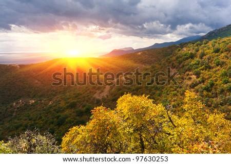 autumn colors in crimean mountains