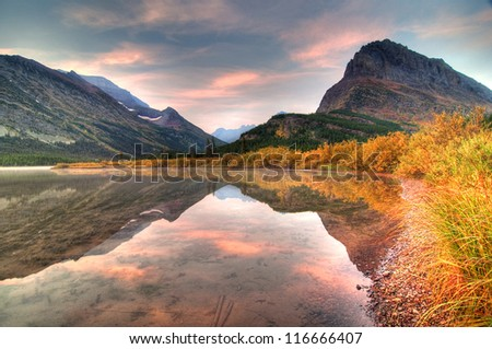Autumn Colors in Swiftcurrent Lake, Many Glacier, Montana, America