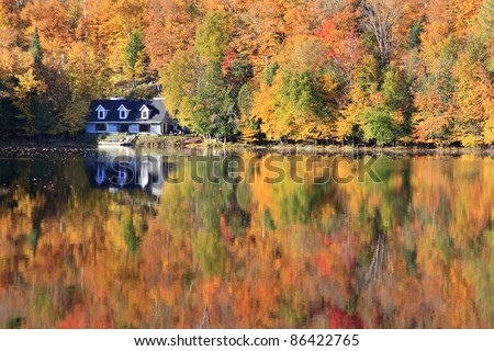 Autumn colors reflections on the lake, Quebec, Canada