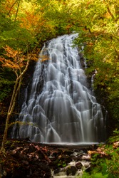 Autumn colors surround Crabtree Falls on the Blue Ridge parkway near Asheville, North Carolina