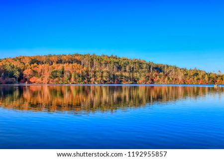 Autumn colour of Shirakoma Pond, Shirakoma pond is located in Nagano Prefecture, Japan., beautiful autumn colored leaves trees reflected in Water around Shirakoma pond. #1192955857