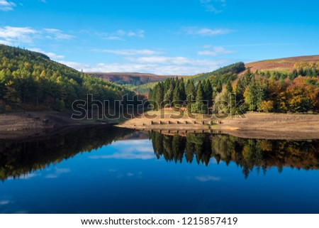 Autumn Colours at Derwent Reservoir, Peak District National Park, Derbyshire, UK. Derwent Reservoir is the middle of three reservoirs in the Upper Derwent Valley in  Derbyshire, England