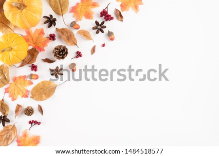 Autumn composition. blanket, autumn leaves and pumpkin on white background. Flat lay, top view copy space. #1484518577