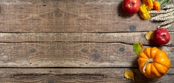 Autumn composition for Thanksgiving day. Pumpkin,fruits apples, floral and seasonal decoration on rustic wooden table. Autumn background. Long format with copy space