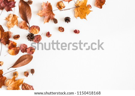 Autumn composition. Frame made of autumn dried leaves on white background. Flat lay, top view, copy space #1150418168