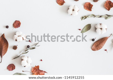 Autumn composition. Frame made of eucalyptus branches, cotton flowers, dried leaves on pastel gray background. Autumn, fall concept. Flat lay, top view, copy space #1145912255
