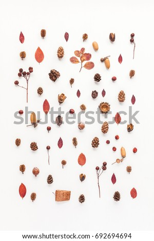 Autumn composition. Pattern made of autumn leaves, acorn, pine cones. Flat lay, top view.