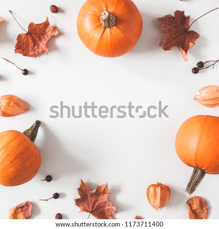 Autumn composition. Pumpkins, dried leaves on pastel gray background. Autumn, fall, halloween concept. Flat lay, top view, square, copy space - Shutterstock ID 1173711400